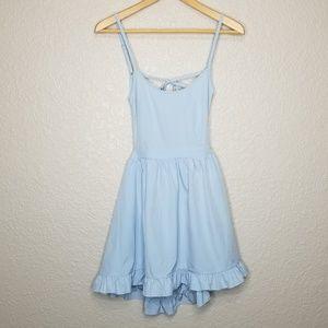 TOBI Ruffle Skater Dress Spaghetti Tie Strap Blue